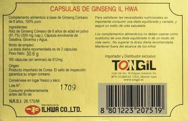 Ginseng Koreano Il Hwa