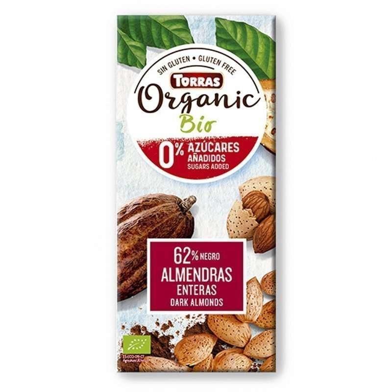 Chocolate Negro sin Azúcar 62% Cacao con Almendras Enteras Bio Torras 150 gr