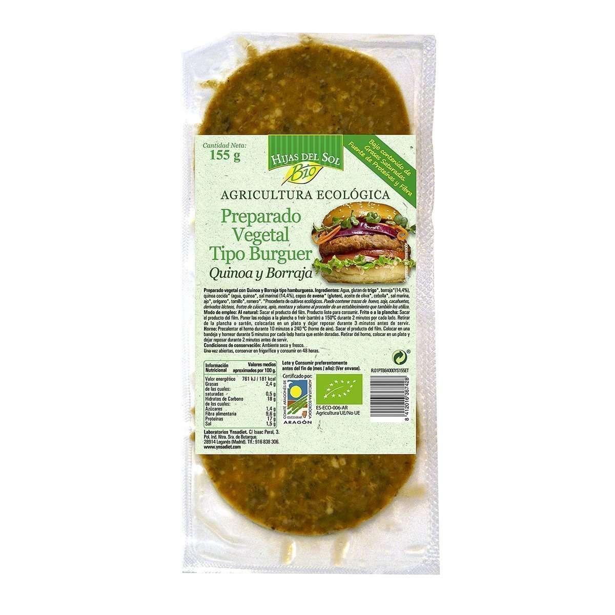 Hamburguesa Vegana Quinoa Borraja Hijas del Sol 155 gr