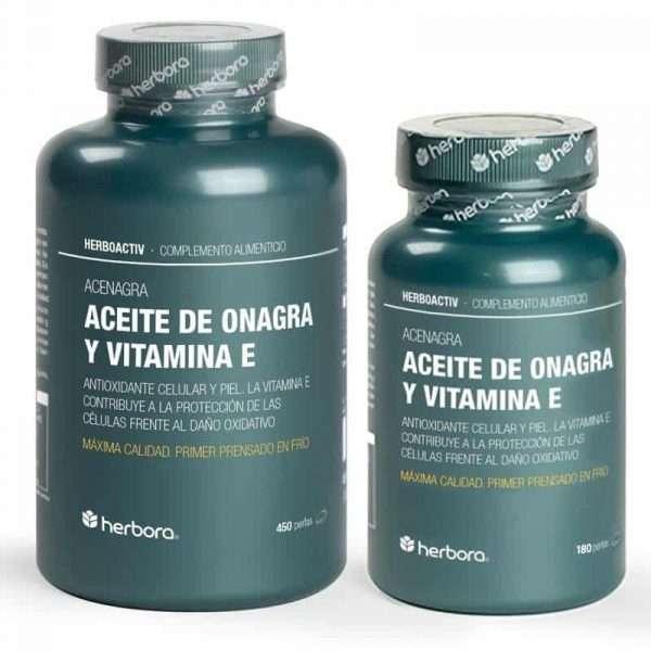 Aceite de Onagra y Vitamina E Herbora 180 y 450 perlas