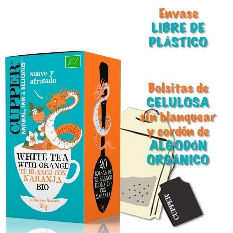Té Blanco con Naranja Ecológico Cupper 20 bolsitas