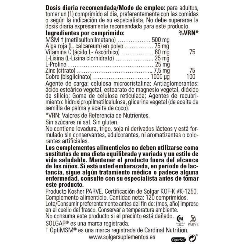 Fórmula Pelo Piel y Uñas Solgar 120 cápsulas label