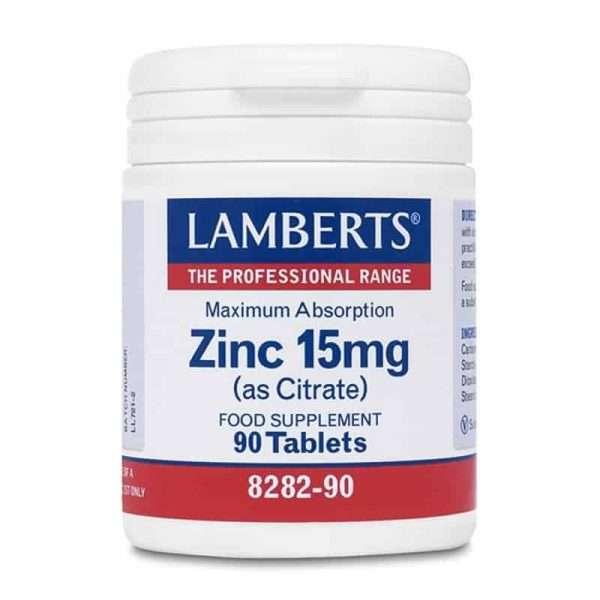 Zinc 15 mg Citrato maxima absorción Lamberts 90 tabs