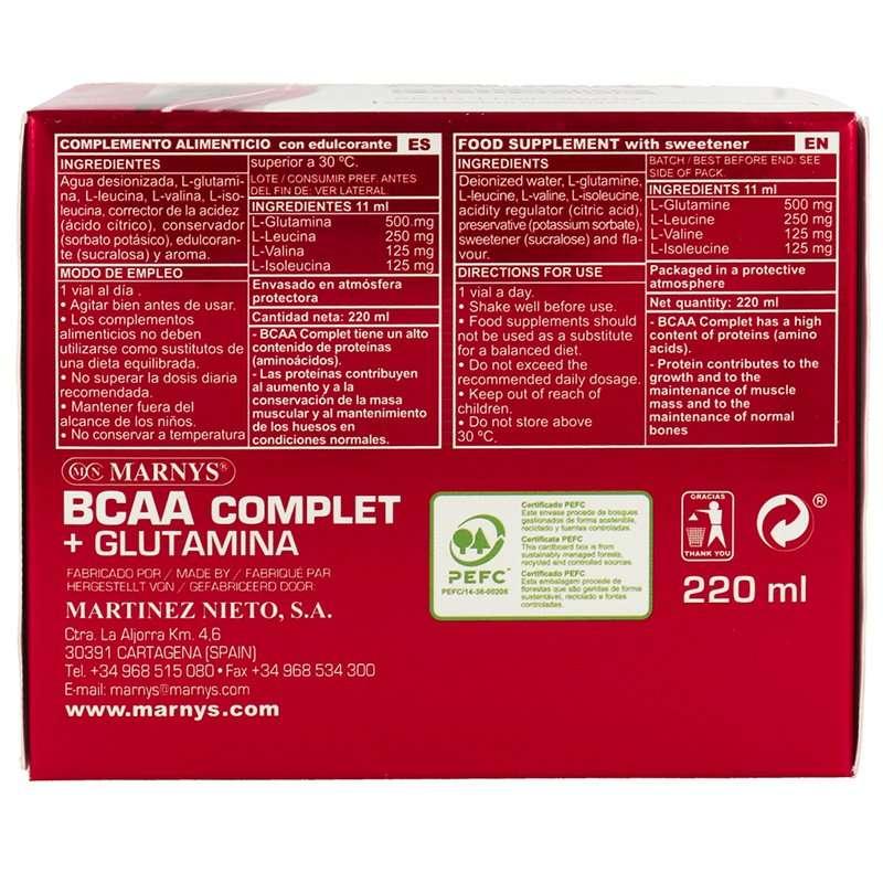 BCAA Complet y Glutamina Marnys 20 viales