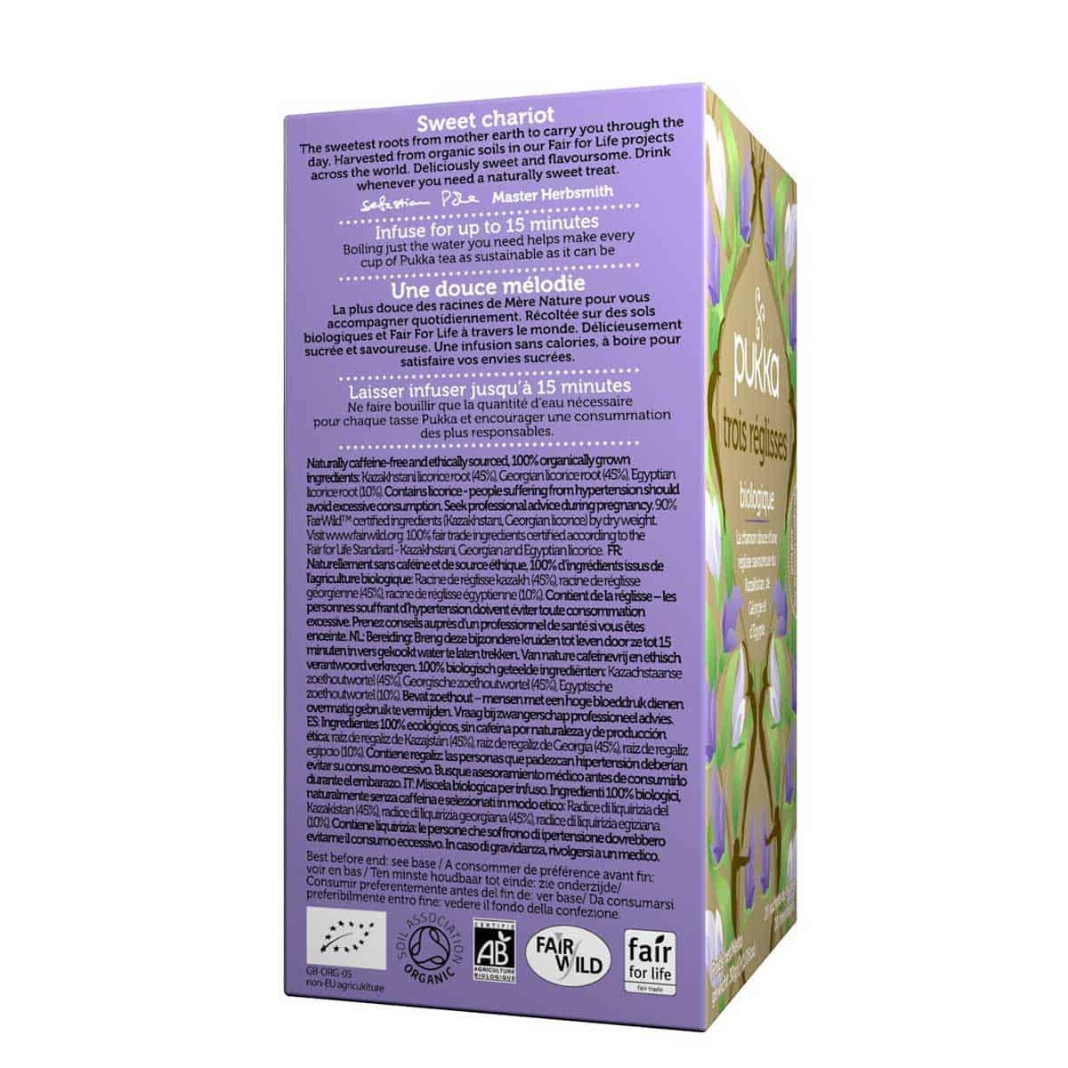 Organic Three Liquorice Infusion Tres Regaliz Pukka 20 bolsitas