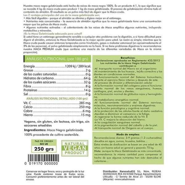 Maca Negra Gelatinizada SaludViva 250g