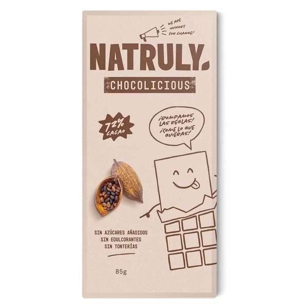 Chocolicious Chocolate Sin Azúcar 72% Natruly 85g